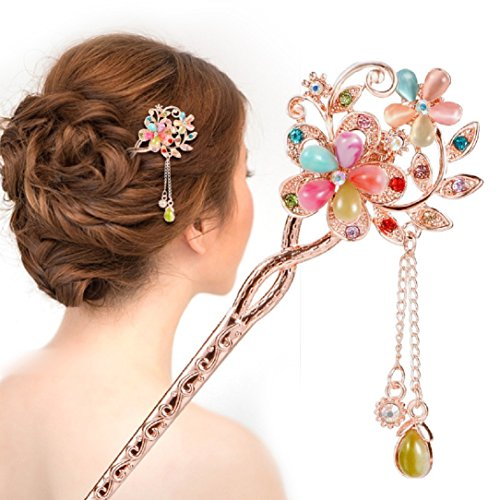 YABINA Fashion Hair Decor Flower Rhinestone Chinese Traditional Style Women Wedding Party Hair Stick Hairpin (Colorful) (9)