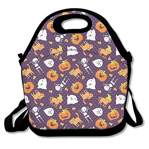 Silly Halloween Frightful Friends Neoprene Reusable Insulated Lunch Tote Bag School Picnic Thermal Carrying Gourmet Lunchbox Container Organizer For Men, Women, Adults, Kids, Teens, Girls, Boys]()