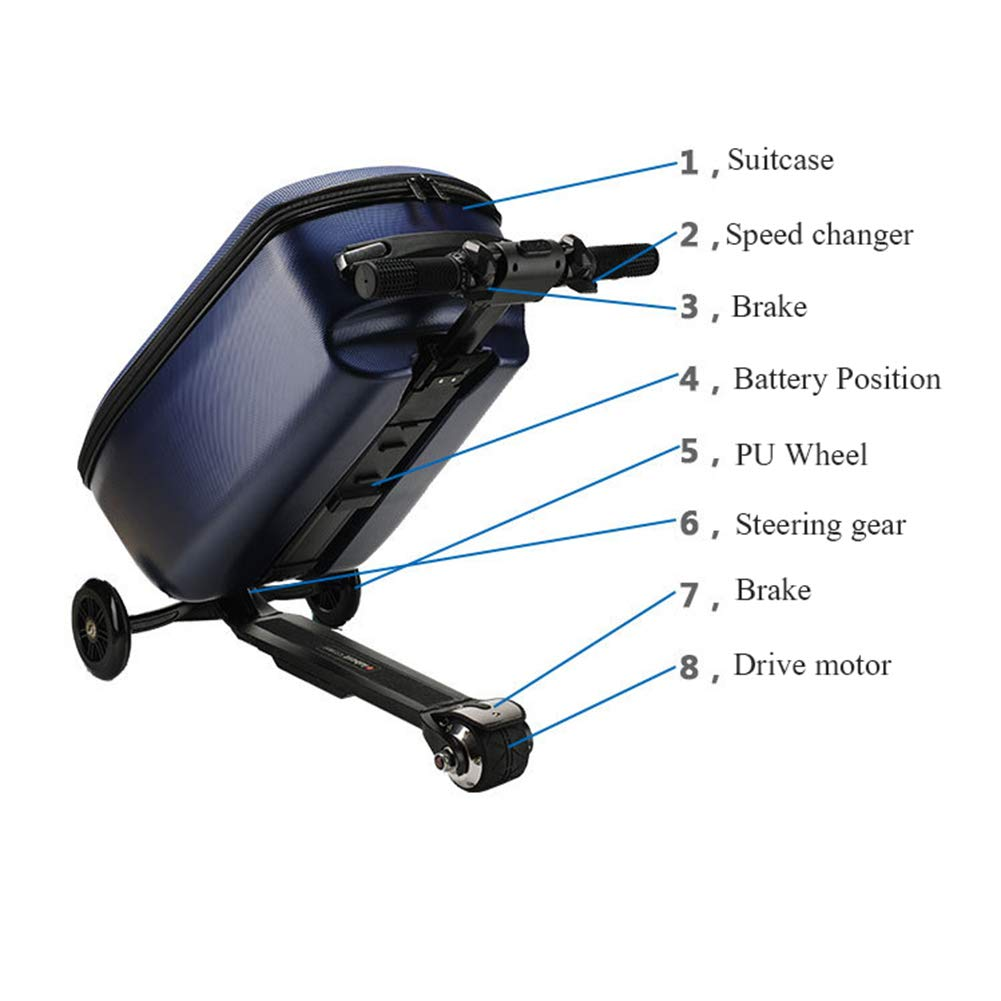 Amazon.com: L&QQ Electric Scooter Suitcase, Foldable 3 Wheel Scooter Luggage Travel Trolley Perfect for Business Travel and School,20 inch,Black: Sports & ...