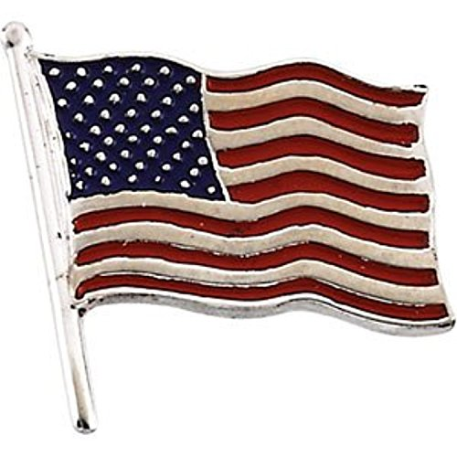 14K White Gold American Flag Lapel Pin