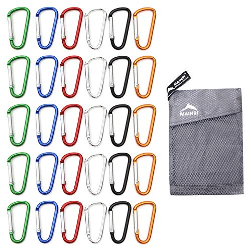 30 pcs Carabiner Clip Keychain Small Caribeaner Clip Keys Chain Aluminum D-Ring Mini Carabiner Camping Fishing 1.85