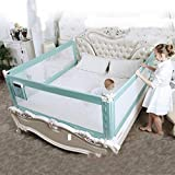 3 Set King (2 Set for 2 Length Side of The Bed and 1 Set for Feed Size of The Bed) Size Bed Safety Bed GuardRail Bed Fence for Children, Toddlers, Infants - Green Color