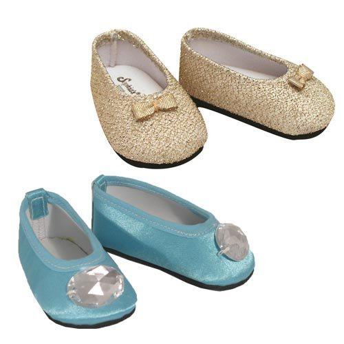 """Turquoise Jeweled Flats & Gold Glitter Shoes, Fits 18"""""""