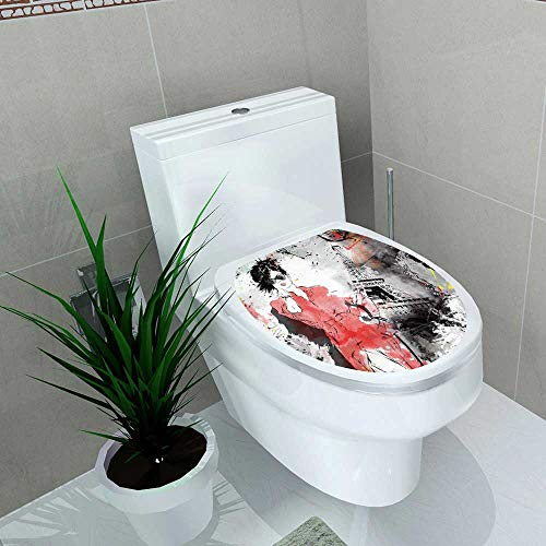 Auraise-home Toilet Seat Wall Stickers Paper Fashion Girl in Sketch Style Decals DIY Decoration W11 x L13