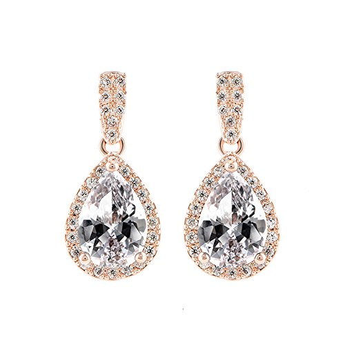Frecici Rose Gold Plated Teardrop Earrings Dangle with Pear Shaped Cubic Zirconia Halo Earrings Bridal Jewelry ,0.9 In
