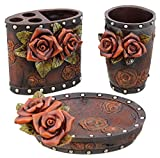 Colors of Rainbow Red Rose/Tooled Leather Look 3 Pc. Bathroom Bath Set - Toothbrush Holder, Tumbler, Soap Dish