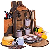 Apollowalker 4 Person Picnic Backpack with Cutlery Set and Blanket for Picnic, Outdoor, Sports, Hiking, Camping, BBQs, Cooler (Coffee B)