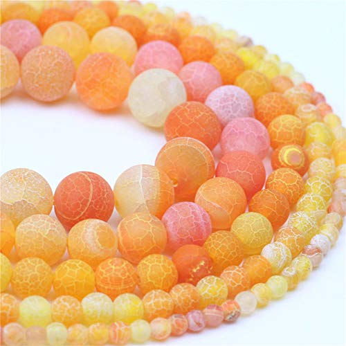 Oameusa 6mm Orange Weathered Matte Agate Stone Dye Color Unpolished Round Beads DIY Materials Bracelet Necklace Earrings Making Jewelry Agate Beads for Jewelry Making 15