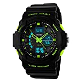 BesWLZ Unisex Fashion Sport Watch Digital Water Resist Dual Time Multifunction Alarm Led Womens Mens Wristwatch Green