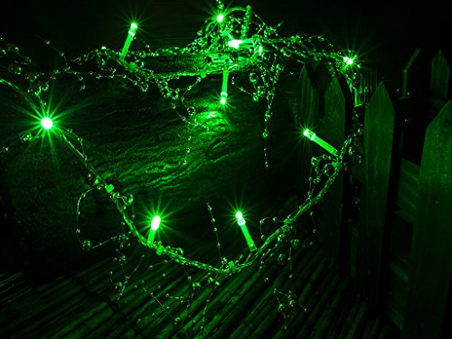 Battery Operated Silver Beads with Green LED String Lights, Christmas Lights, Party Lights (Free Shipping)