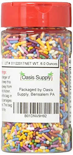 Oasis Supply Brilliant Rainbow Mix Cane Sugar Sprinkles, Naturally Colored, 6 Ounce