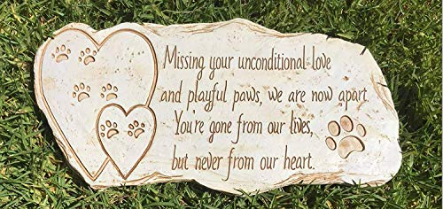 Pawprints Remembered Pet Memorial Stone Marker for Dog or Cat - for Outdoor Garden, Backyard, or Lawn. Pet Grave Headstone Tombstone - Loss of Pet Gift - Made of Weatherproof Resin (Tombstones Markers Pet)