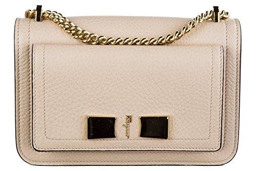 Salvatore Ferragamo women's leather shoulder bag original ginevra beige