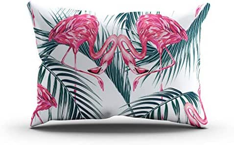 Sgvsdg Throw Pillow Cover Pink Flamingos Tropical Palm Leaves Beautiful Floral Leaf Seamless Rectangle Hidden Zipper Home Sofa Living Room Office Cushion Decorative Pillowcase 20 X 36 Inch