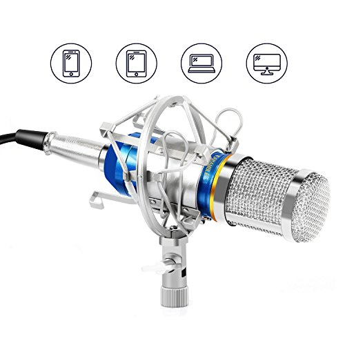 Earamble Professional Studio Recording Condenser Microphone Plug and Play Mic, Cardioid Pickup, Compatible Phone, Computer, Laptop, Mac for Youtube, Podcasting, Twitch, Games Broadcast (Blue)