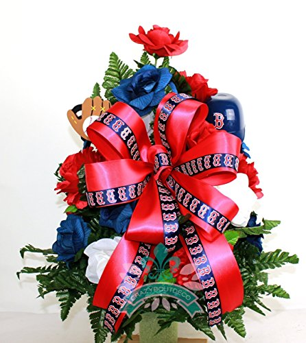 Baseball Boston Red Sox Fan Cemetery Vase Arrangement (Boston Red Wreath Sox)