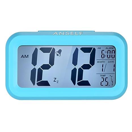 Anself LED Digital Alarma Despertador Reloj Repetición activada por luz Snooze Sensor de luz Tiempo Fecha Temperatura (Azul)