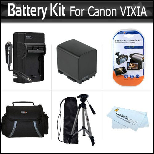 Battery Kit For Canon VIXIA HF M300 HF M30 HF M31 M32 M40 M41 HF S200 H S20 HF S21 S30 S40 S400 HF200 HG20 HG21 Camcorder Includes Replacement BP-819 2100MAH Battery + AC/DC Travel Charger + Deluxe Case + Tripod + Screen Protectors + More