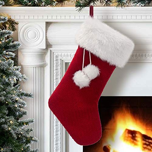 SDEAL Red Knitted Christmas Stocking Plush Cuff 21 Inches Mantel Decoration Double Layers with Pompom Gift Holder for Party Family Holiday Xmas
