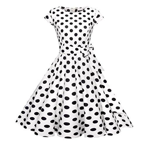Huhu833 Vintage Retro Audrey Hepburn OAusschnitt Kurze Ärmel Drucken ...
