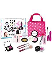 Girls Pretend Play Makeup Sets Fake Make Up Kits with Cosmetic Bag Toy for Little Girls Play Game Halloween Christmas Birthday Party Age 2, 3, 4, 5 (Not Real Makeup)