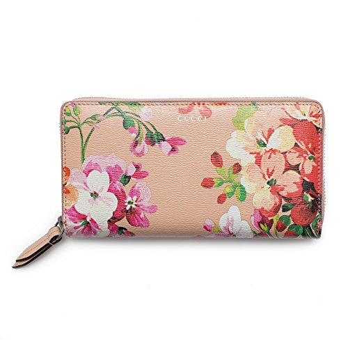 Gucci Shanghai St Beige Blooms Apricot Leather Continental Wallet Italy New by Gucci