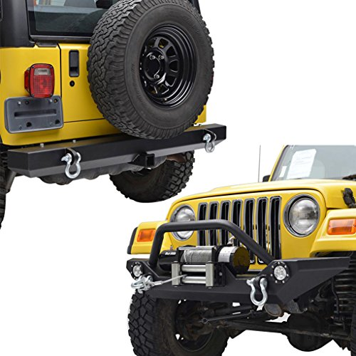 E-Autogrilles-87-06-Jeep-Wrangler-TJYJ-Black-Textured-Off-Road-Front-Bumper-with-LED-Light-and-Rear-Bumper-Combo-51-0034L51-0008