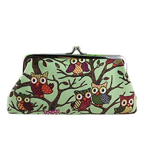 Purse Small Wallet Vintage 2018 Lovely Clutch Handbags Owl Women Green Coin Wallet Style Bags Hasp Clearance Fashion Noopvan Pockets P4I68nw