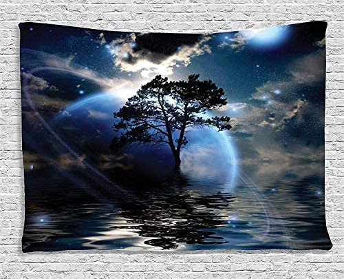 Ambesonne Fantasy Tapestry, Water Night View Dark Clouds Stars Moonlight Skylights Rays Tree Reflection on Sea Print, Wide Wall Hanging for Bedroom Living Room Dorm, 80 X 60 , Navy