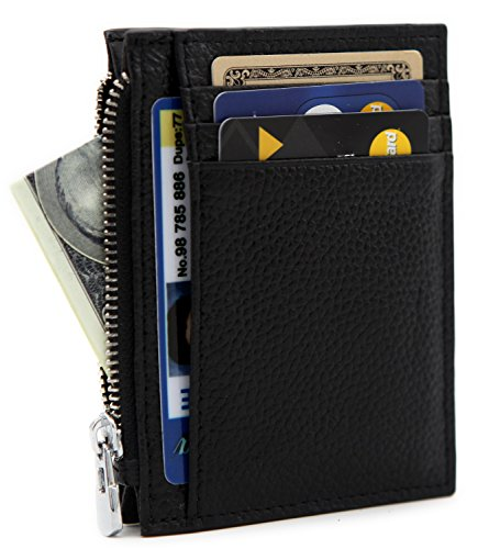 DEEZOMO RFID Blocking Genuine Leather Front Pocket Secure Mini Wallet