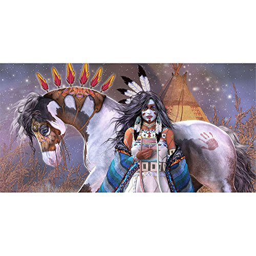 LIPHISFUN DIY 5D Diamond Painting by Number Kit for Adult, Full Round Resin Beads Drill Diamond Embroidery Dotz Kit Home Wall Decor,30x40cm,African Women Horse