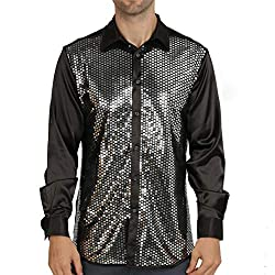 Men Long Sleeve Sequins Dress Shirt