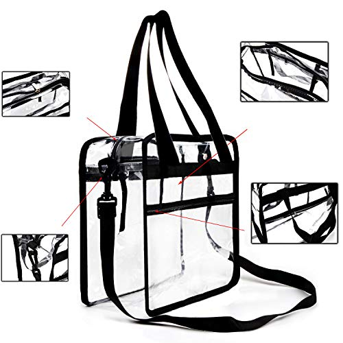 Youngever Clear Bag - 12 X 6 X 12 (inch) - Stadium Approved - Clear Tote Bag - Heavy Duty - Shoulder Straps and Zippered top - Both Inside and Outside Zipped