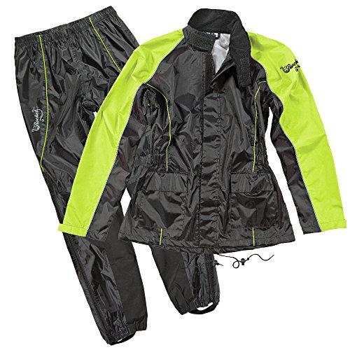 Joe Rocket RS2 Womens 2-Piece Motorcycle Rain Suit (Black/Hi-Viz, X-Large)