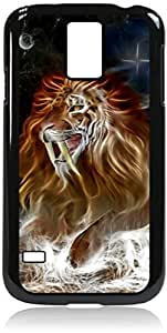 Fanged Lion- Case for the Galaxy S5 i9600- Hard Black Plastic Snap On Case with Soft Black Rubber lining
