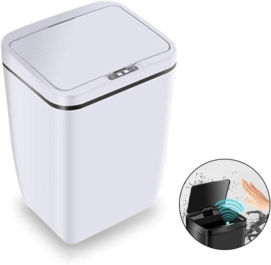 CviAn Papelera con sensor inteligente creativo de 12 L impermeable autom/ática sin contacto de pl/ástico para cocina o ba/ño blanco blanco