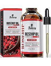 Kanzy Nyponolja för Ansikte 120 ml Ekologisk Kallpressad 100% ren Naturlig, återfuktande, Närande och återfuktande Nyponfröolja för Hud, Hår, Naglar och Kropp