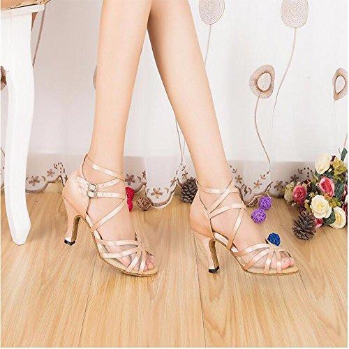 Masocking@ Mujer Zapatos de Baile Sandalias Panel Internet tira transversal High-Heel seguidores Soft C 8cm inferior peluda