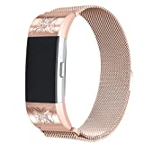 bayite For Fitbit Charge 2 Bands, Stainless Steel Metal Replacement Accessories Milanese Loop Bracelet Strap with Unique Magnet Lock, Rose Gold with Rhinestone Small