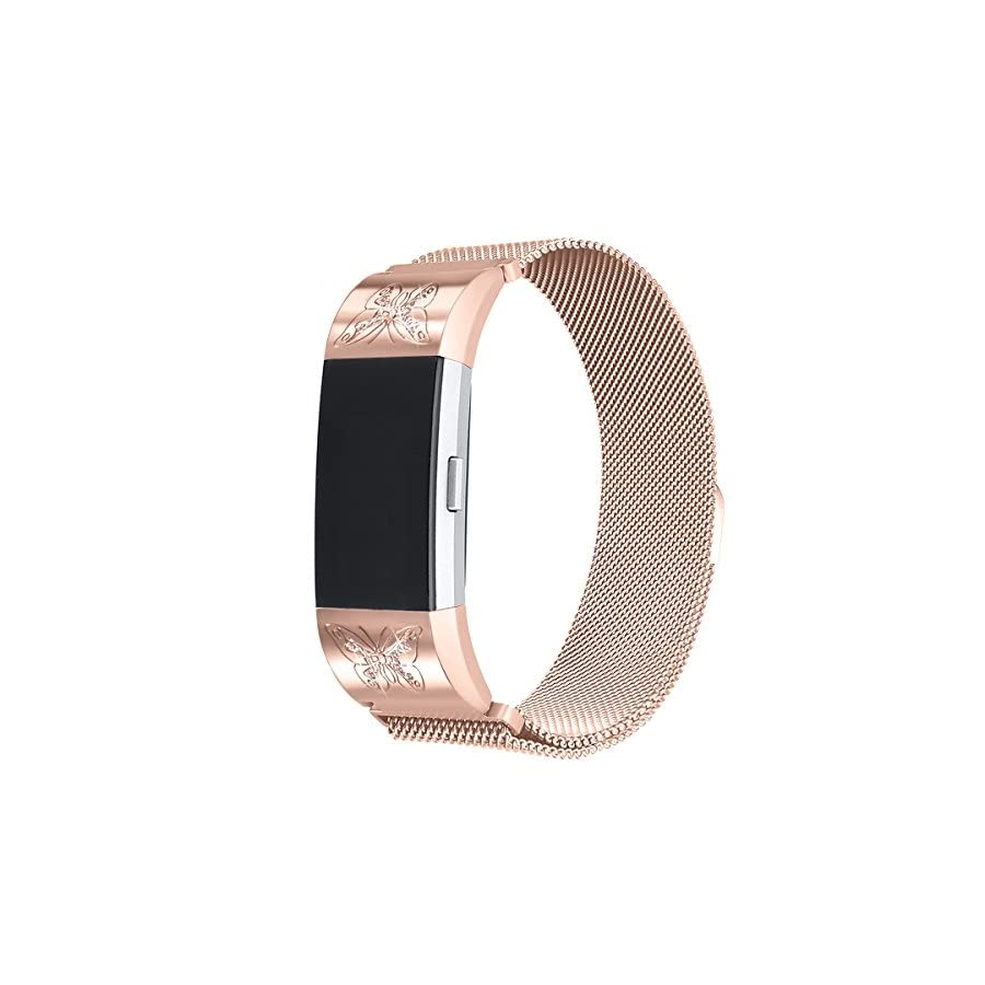 bayite Milanese Loop Bands Compatible Fitbit Charge 2, Replacement Stainless Steel Magnet Lock Metal Wristband Women Large Small