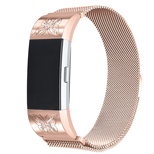 bayite For Fitbit Charge 2 Bands Stainless Steel Milanese Loop Metal Replacement Accessories Bracelet Strap with Unique Magnet Lock, Large Rose Gold with Rhinestone by bayite