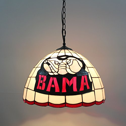 Royal- 16-inch NCAA Alabama Crimson Tide Alphabet A Stained Glass Pendant Lamp