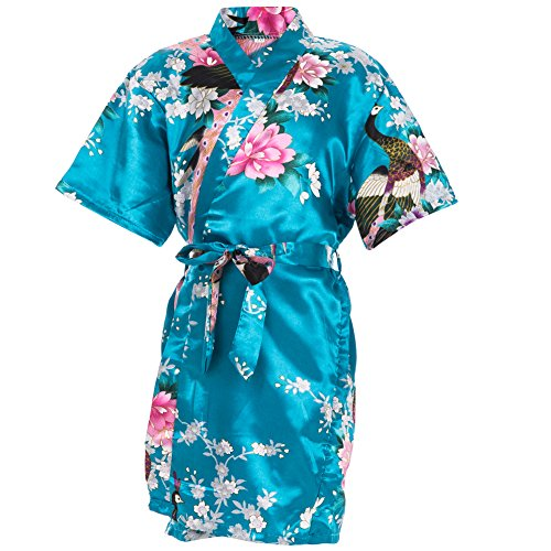 Mr & Mrs Right Kids' Satin Kimono Robe Peacoke Flower Girl Bathrobes for Spa Party Wedding Birthday