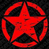 22 Freedom Star Distressed Military Decal Fits Jeep Rubicon Wrangler JK Liberty Willy's With Free Bumper Sticker (Red) by Clown Lizard