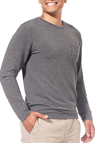 Leave Nothing But Footprints LNBF Men's Apparel Viscose from Bamboo Crew Neck Pocket Long Sleeve Tee (L, Gray) Leave Nothing T-shirt