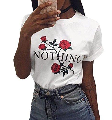 ISSHE Oversize T Shirt Damen Sommer Blumen Print Rundhals T Shirts Kurzarm Frauen  Lockere T- 61dc0442ed