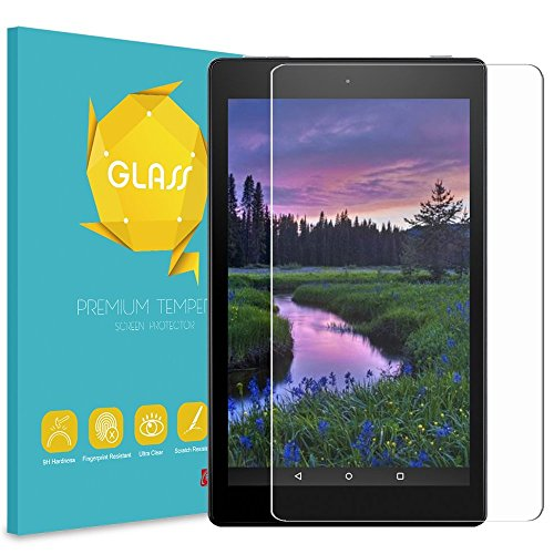"Fintie Tempered Glass Screen Protector for Amazon Fire HD 8 Tablet, 9H Ultra Clear Anti-Scratch Oleophobic Screen Protector for Fire 8"" HD Display Tablet (7th Gen 2017 / 6th Gen 2016 / 5th Gen 2015) by Fintie"