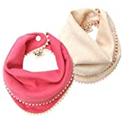 kishu baby Girl Bibs 2-pk Pink and Ivory Pom Pom Bib Gift Set for Girls, Multicolor, One Size