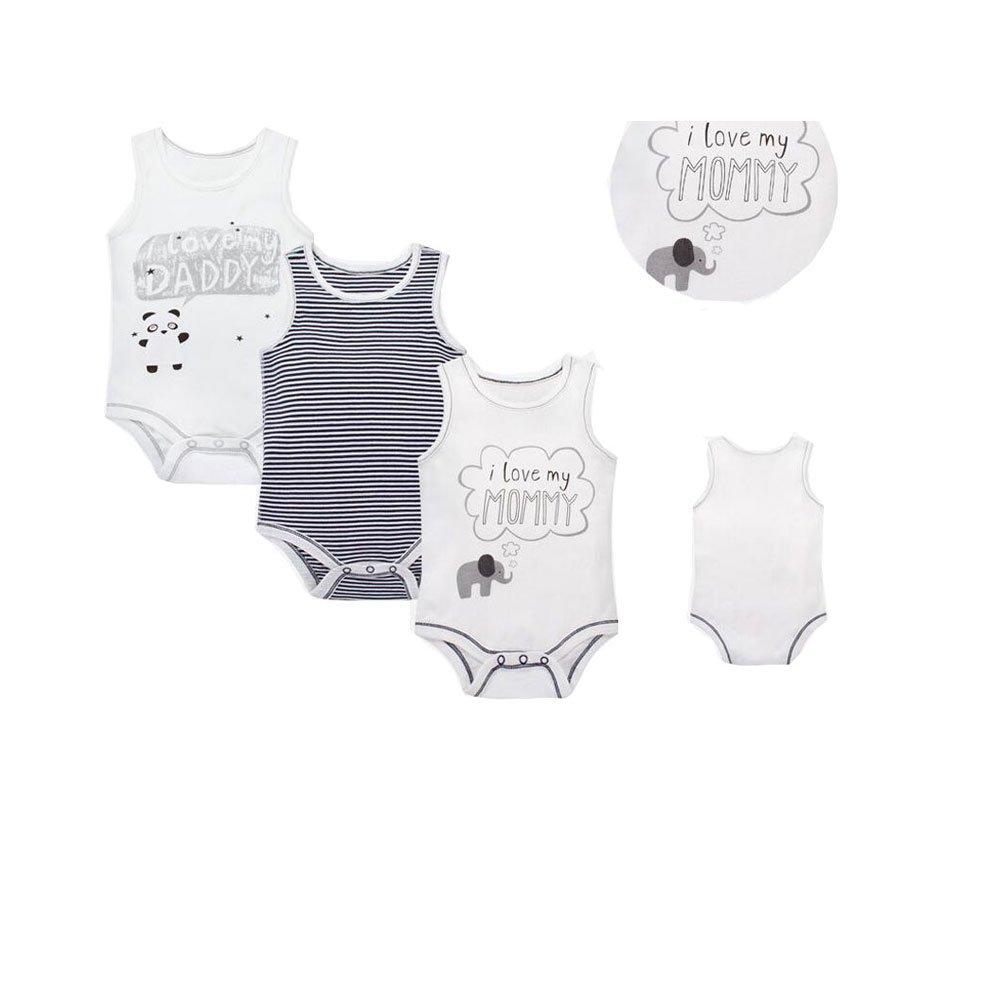 CuteOn Unisexo Beb/é Infantil 100/% Algod/ón 3 paquetes Ligero Sin mangas Bodysuits Emoci/ón 6 Months