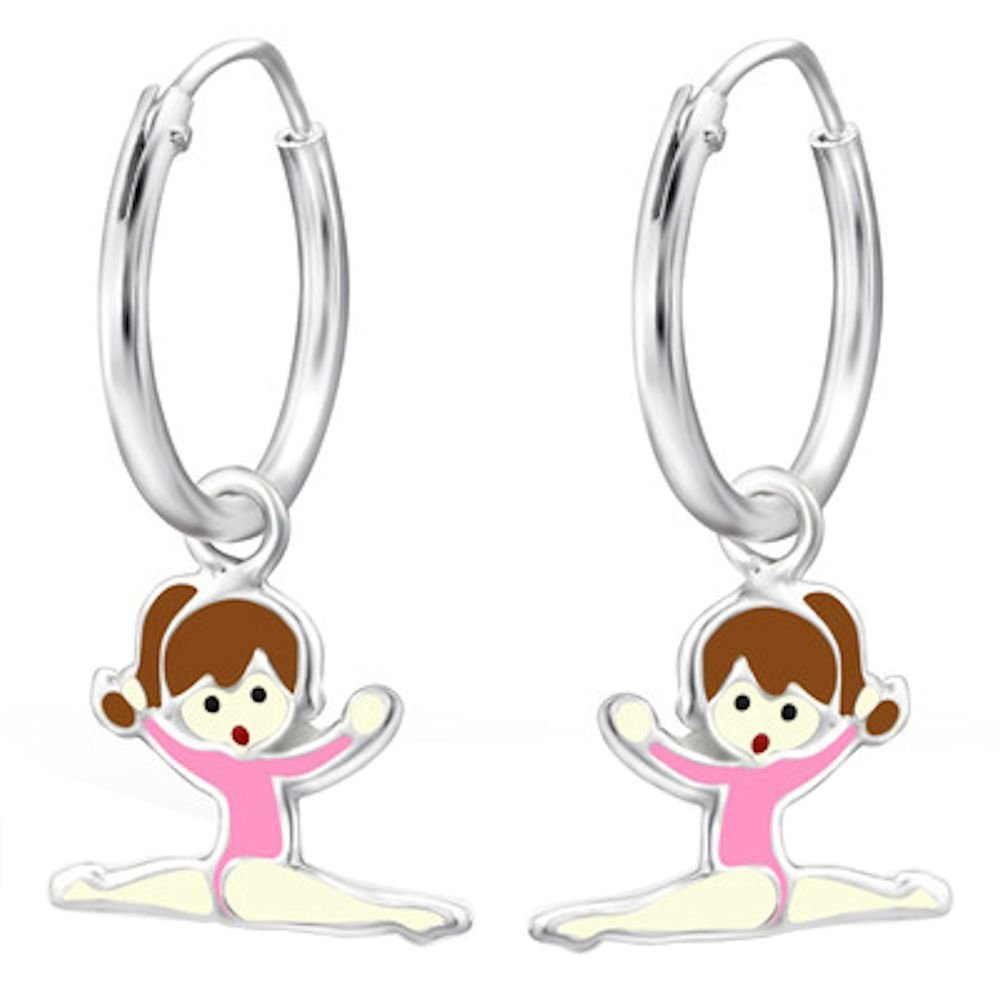 Childrens 925 Sterling Silver Gymnastics Girl Earrings Epoxy Color So Chic Jewels